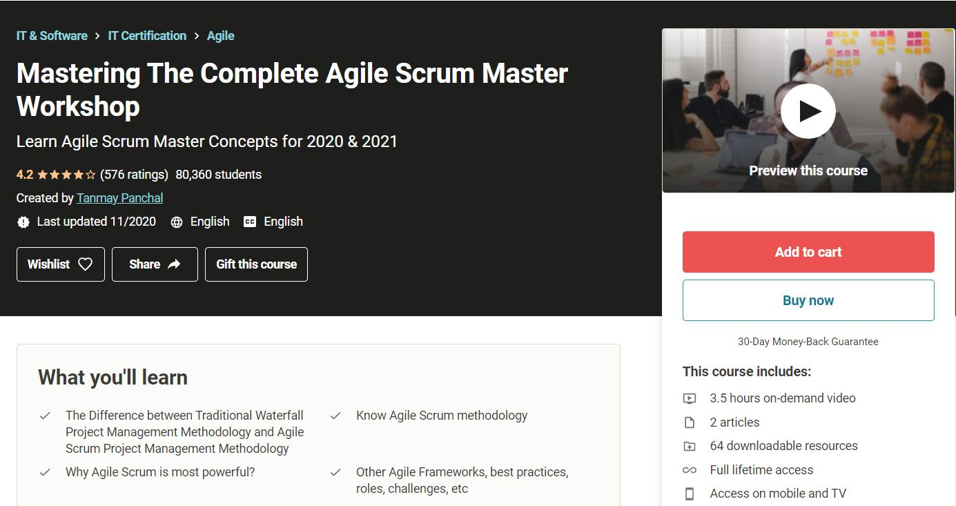 Tanmay Panchal Udemy course Agile certificate